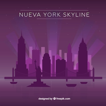 Purpurrote skyline von new york