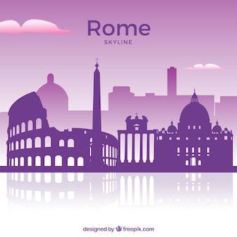 Purpurrote skyline von rom