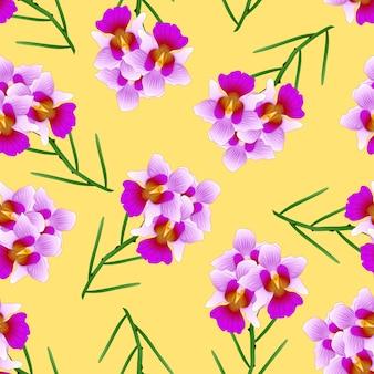 Purpurrote vanda fräulein joaquim orchid auf gelbem hintergrund