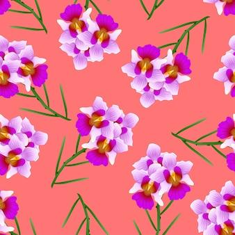 Purpurrote vanda fräulein joaquim orchid auf rotem orange hintergrund