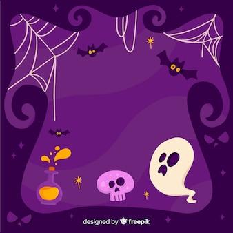 Purpurroter halloween-rahmen mit geist auf flachem design