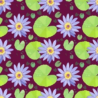 Purpurroter lotos mit wassertropfen auf nahtlosem muster des grünen lotosblattes.