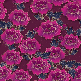 Purpurroter pfingstrosenblumen-nahtloser musterhintergrund des eleganten chinesischen botanischen gartens.