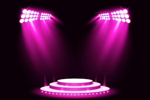 Purpurroter stadiumslicht-podiumsscheinwerfer mit rotem teppich