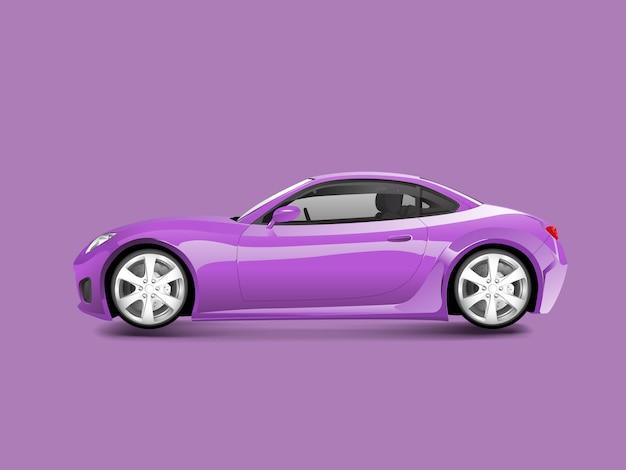 Purpurrotes sportauto in einem purpurroten hintergrundvektor