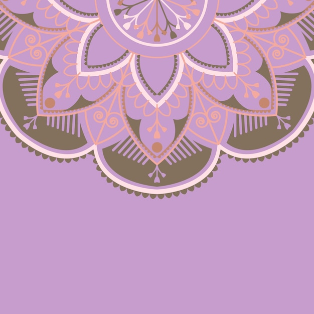 Purpurrotes und braunes mandalamuster auf purpurrotem hintergrund