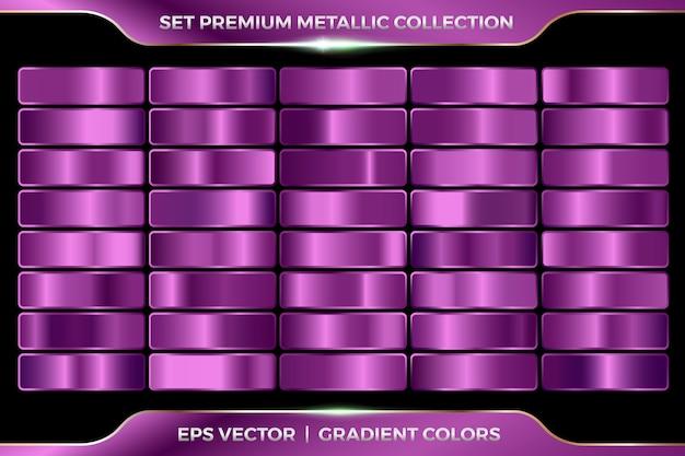 Purpurviolett lila pflaumensammlung von farbverläufen großer satz von metallpalettenschablone