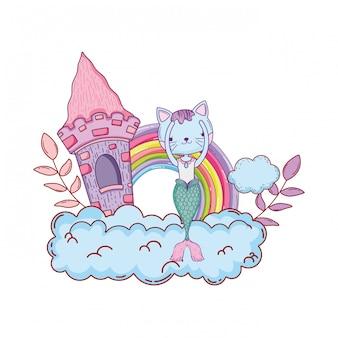 Purrmaid mit schloss und regenbogen in der wolke