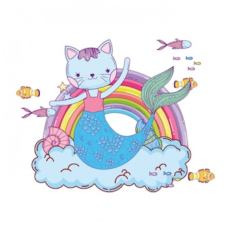 Purrmaid mit wolken und regenbogenunterwasser