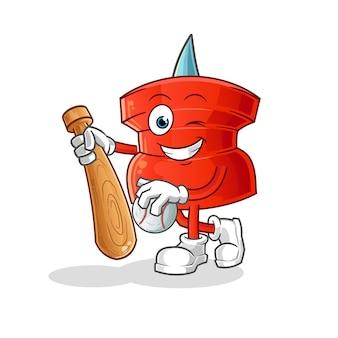 Push pin spielen baseball maskottchen. karikatur