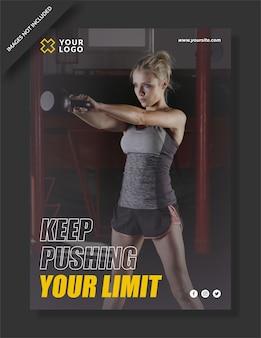 Pushing ihre limit fitness center flyer vorlage Premium Vektoren