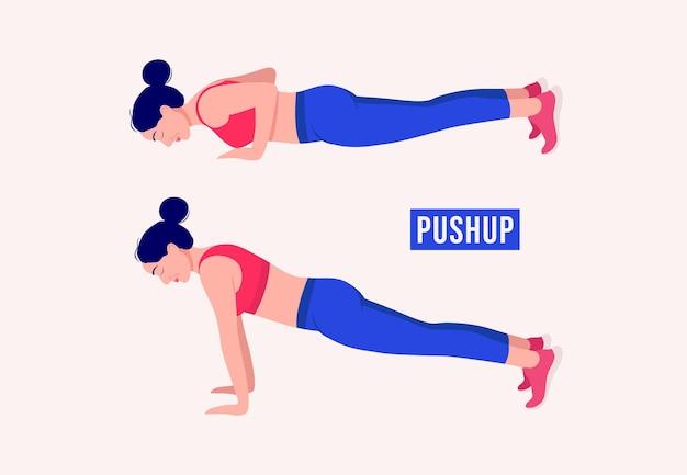 Pushup-übung frau workout fitness aerobic und übungen