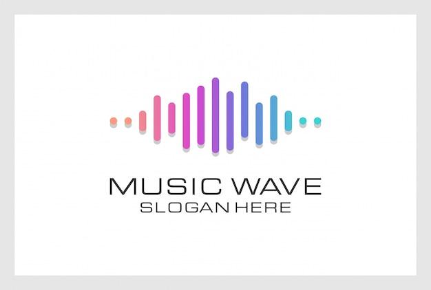Pusle logo design premium vektor. logo kann für musik, multimedia, audio, aqualizer, aufnahme, nachtclub, dj, disco, store verwendet werden.