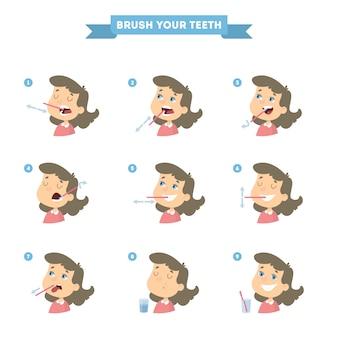 Putzen sie ihre zähne mit mädchen gesetzt. gesunder unterricht.