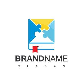 Puzzle-buch-logo-design-vektor