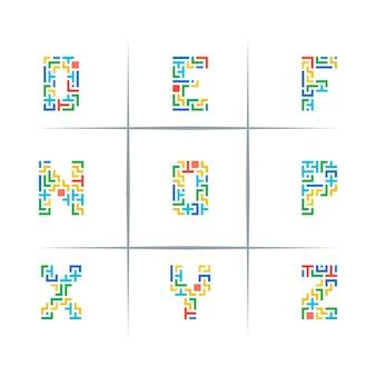 Puzzle buchstaben logo design set