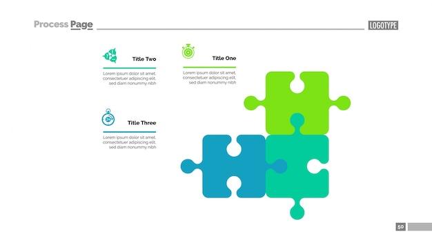 Puzzle-diagramm mit drei elementen vorlage