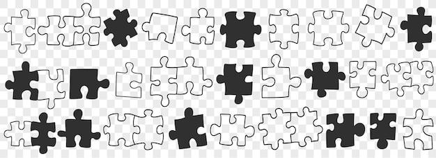 Puzzle-doodles-set. vektor-illustration.