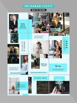 Puzzle fashion web banner für social-media-beiträge