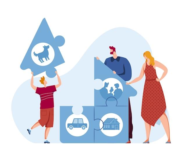Puzzle-konzept der familienleute, illustration. glückliche kommunikation mit liebe, mann frau kind charakter zusammen. auto, haus, menschen und haustier cartoon stück verbinden sich in flachen puzzle.