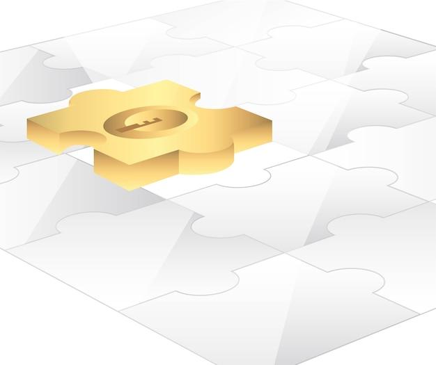 Puzzle mit gold stück hintergrund vektor-illustration