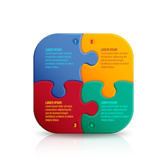 Puzzle mit vielen bunten teilen. infografik mosaikschablone