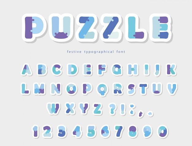 Puzzle papier ausgeschnitten schrift in blauen farben.