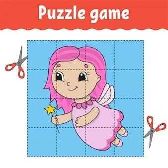 Puzzle-spiel für kinder. arbeitsblatt zur bildungsentwicklung. lernspiel für kinder.