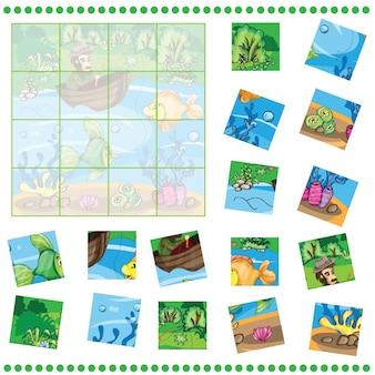 Puzzle-spiel für kinder - fischer, der den fisch fängt
