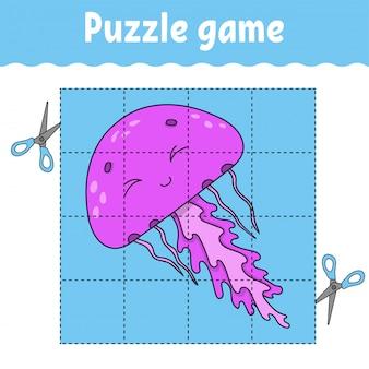 Puzzle-spiel für kindererziehung. arbeitsblatt zur bildungsentwicklung. spiel für kinder. aktivitätsseite.