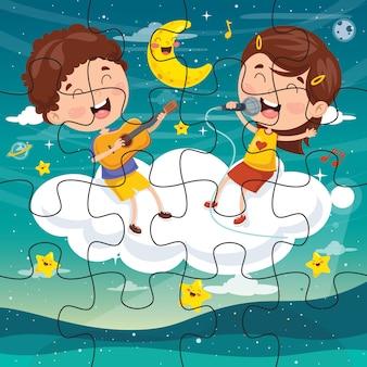 Puzzle-spiel illustration für kinder