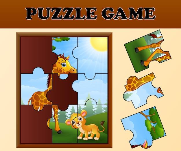 Puzzle-spiel mit glücklichen wilden tieren
