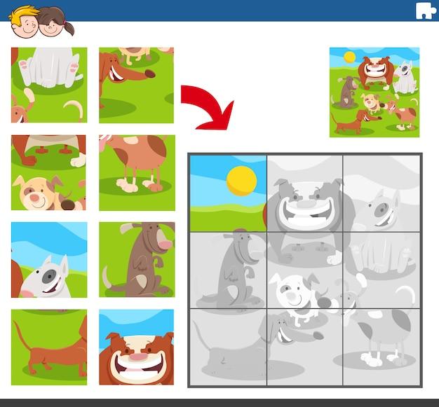 Puzzle-spiel mit hunden tierfiguren