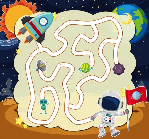 Puzzle-spiel-vorlage mit astronaut im weltraum