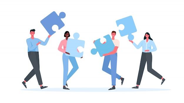 Puzzle teamwork. unternehmenskonzept.