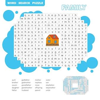 Puzzle- und malaktionsseite - wortsuchrätsel - englisch. familienfreundlich. antwort enthalten