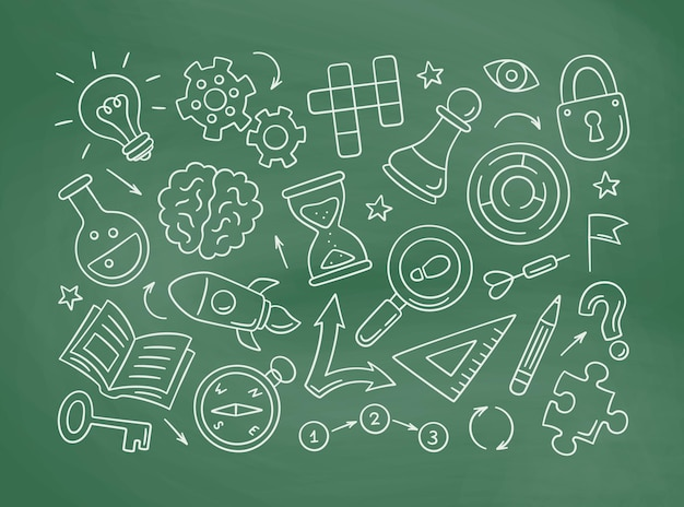 Puzzle und rätsel handgezeichnete symbole auf tafel