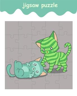 Puzzlespiel der freundschaft der katzenkarikatur