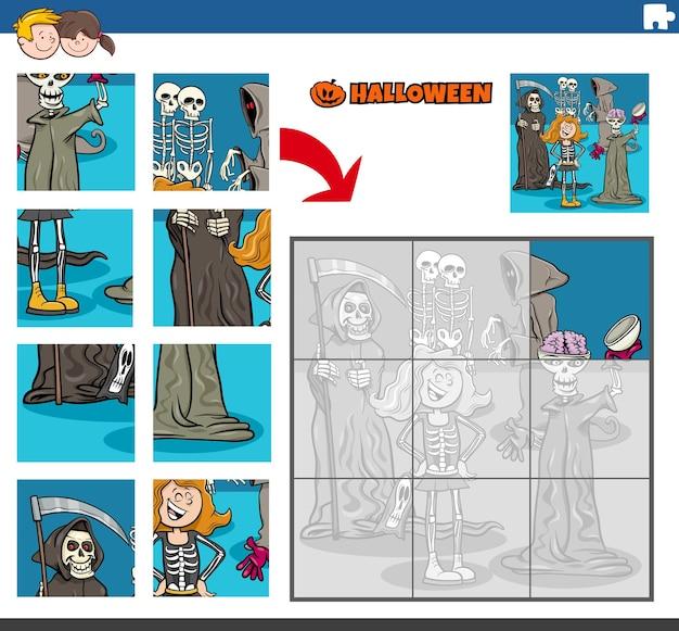 Puzzlespiel für kinder mit gruseligen haloween-figuren