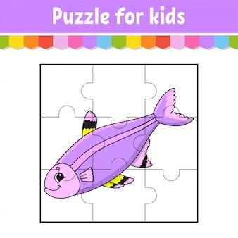 Puzzlespiel für kinder. puzzleteile. farbarbeitsblatt. aktivitätsseite.