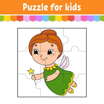 Puzzlespiel für kinder. puzzleteile. farbarbeitsblatt. aktivitätsseite