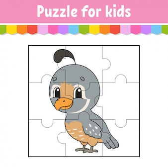 Puzzlespiel für kinder. puzzleteile. farbarbeitsblatt.