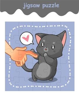 Puzzlespiel mit 2 schönen katzen