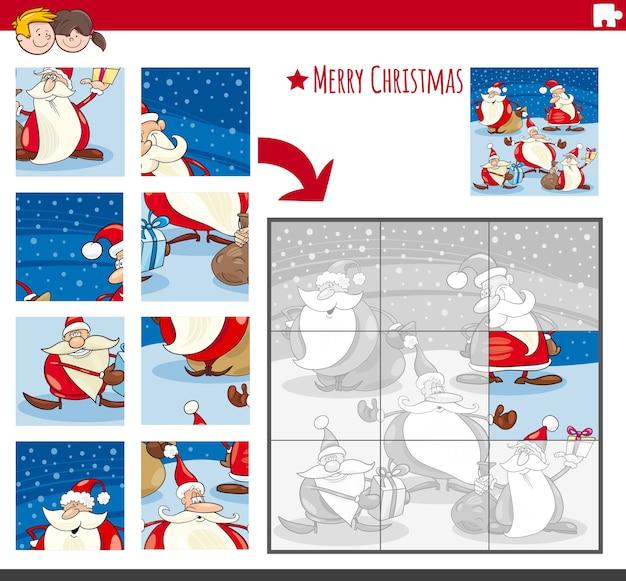 Puzzlespiel mit comicfiguren zur weihnachtszeit