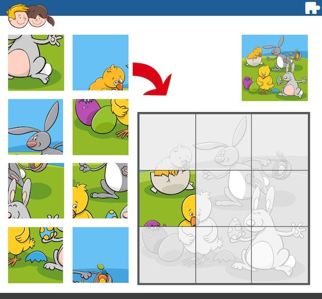 Puzzlespiel mit hasen und küken osterfiguren