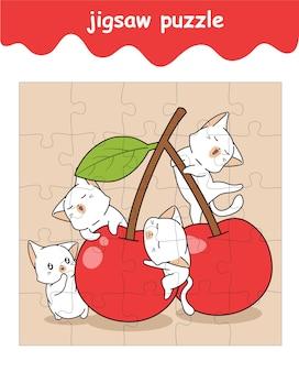 Puzzlespiel mit katzen und kirschkarikatur