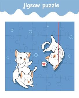 Puzzlespiel mit katzenkarikatur