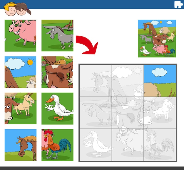 Puzzlespiel mit lustigen nutztierfiguren