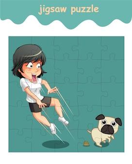 Puzzlespiel mit mädchen und hund