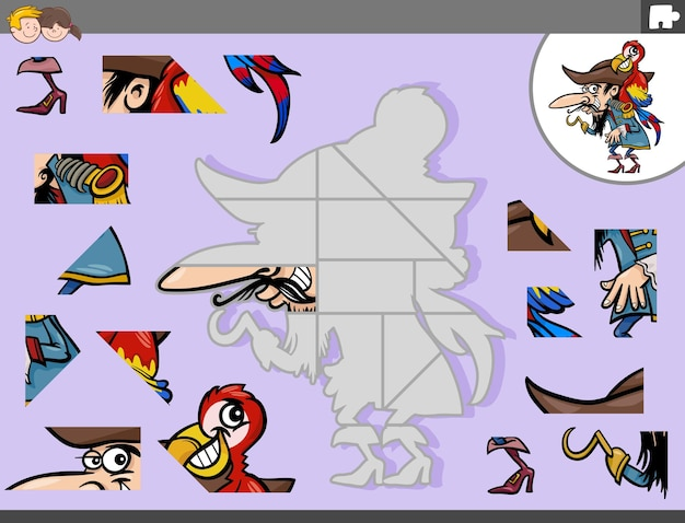 Puzzlespiel mit piraten- und papageienfantasie